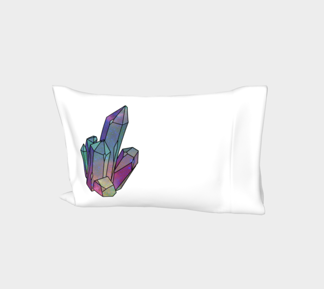 Cosmic Crystals Quartz Rainbow Bed Pillow Sleeve  White preview