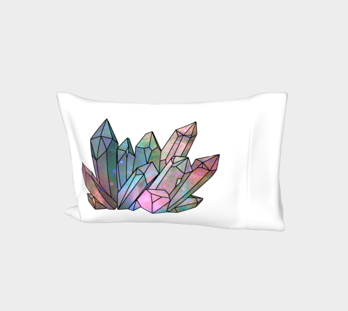 Cosmic Crystals Rainbow Bed Pillow Sleeve  White preview