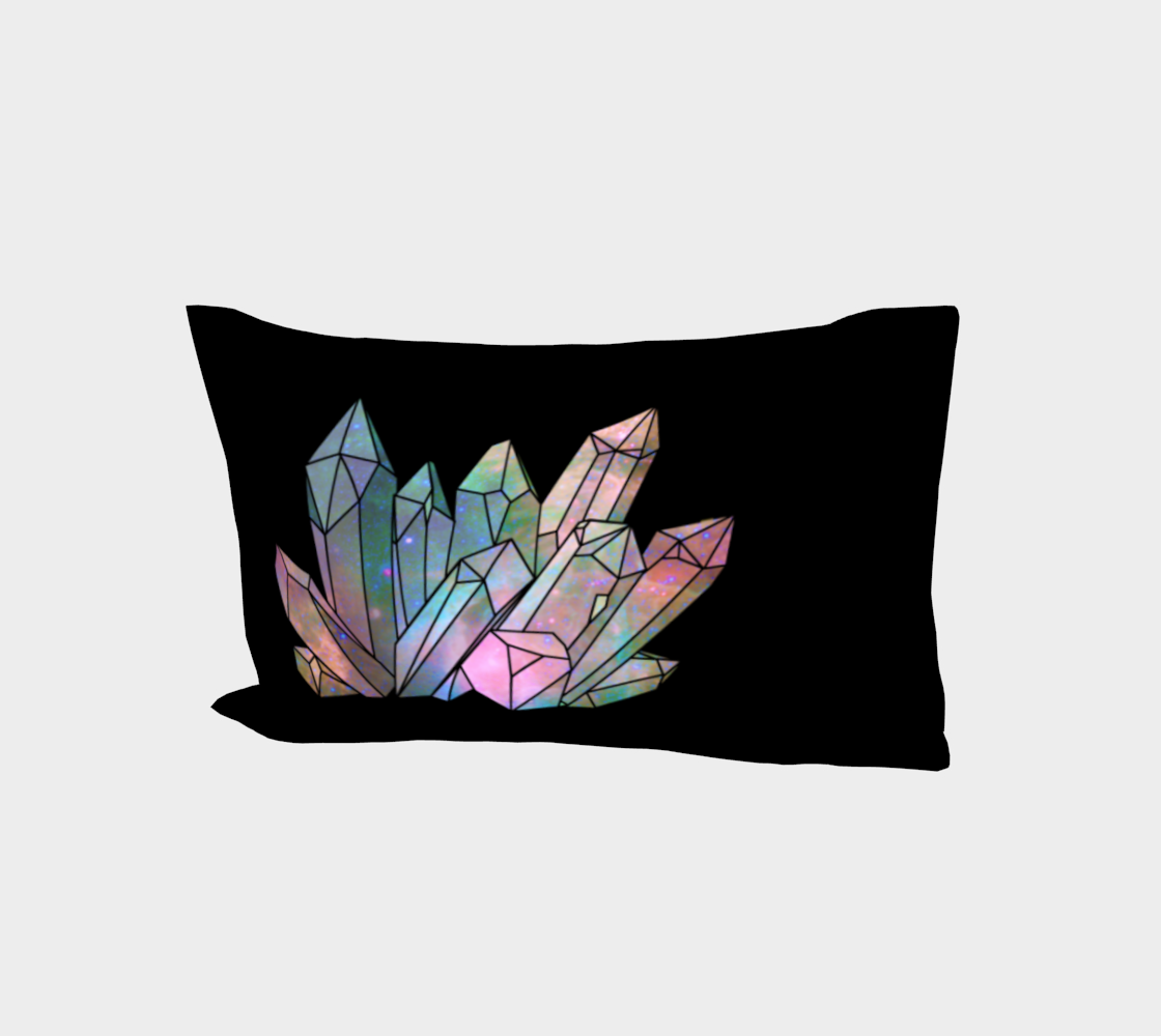Cosmic Crystals Rainbow Bed Pillow Sleeve Black preview