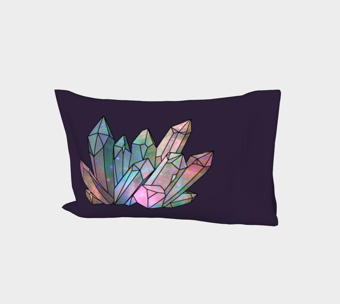 Cosmic Crystals Rainbow Bed Pillow Sleeve  Dark Lilac preview