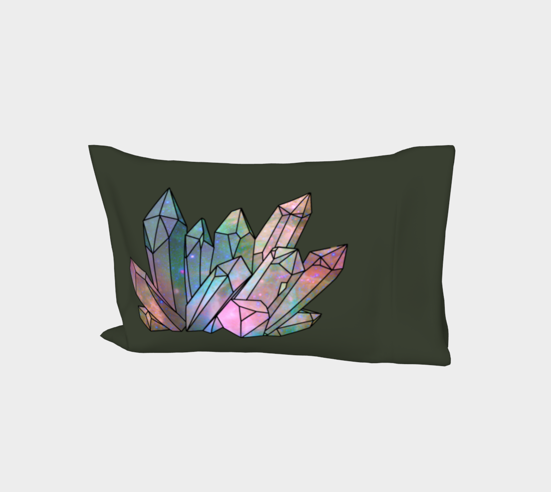 Cosmic Crystals Rainbow Bed Pillow Sleeve Sage preview