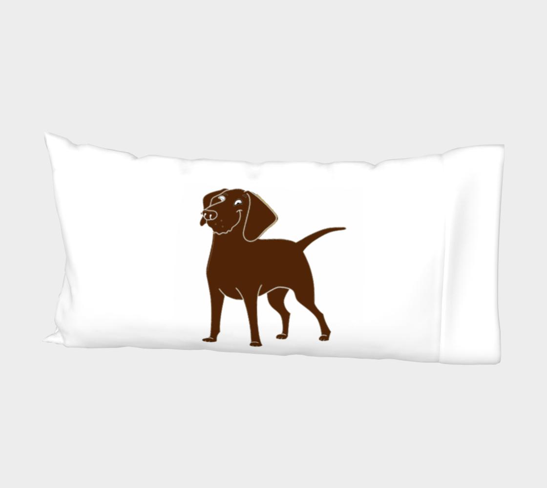 Labrador Retriever chocolate cartoon bed pillow sleeve preview #2