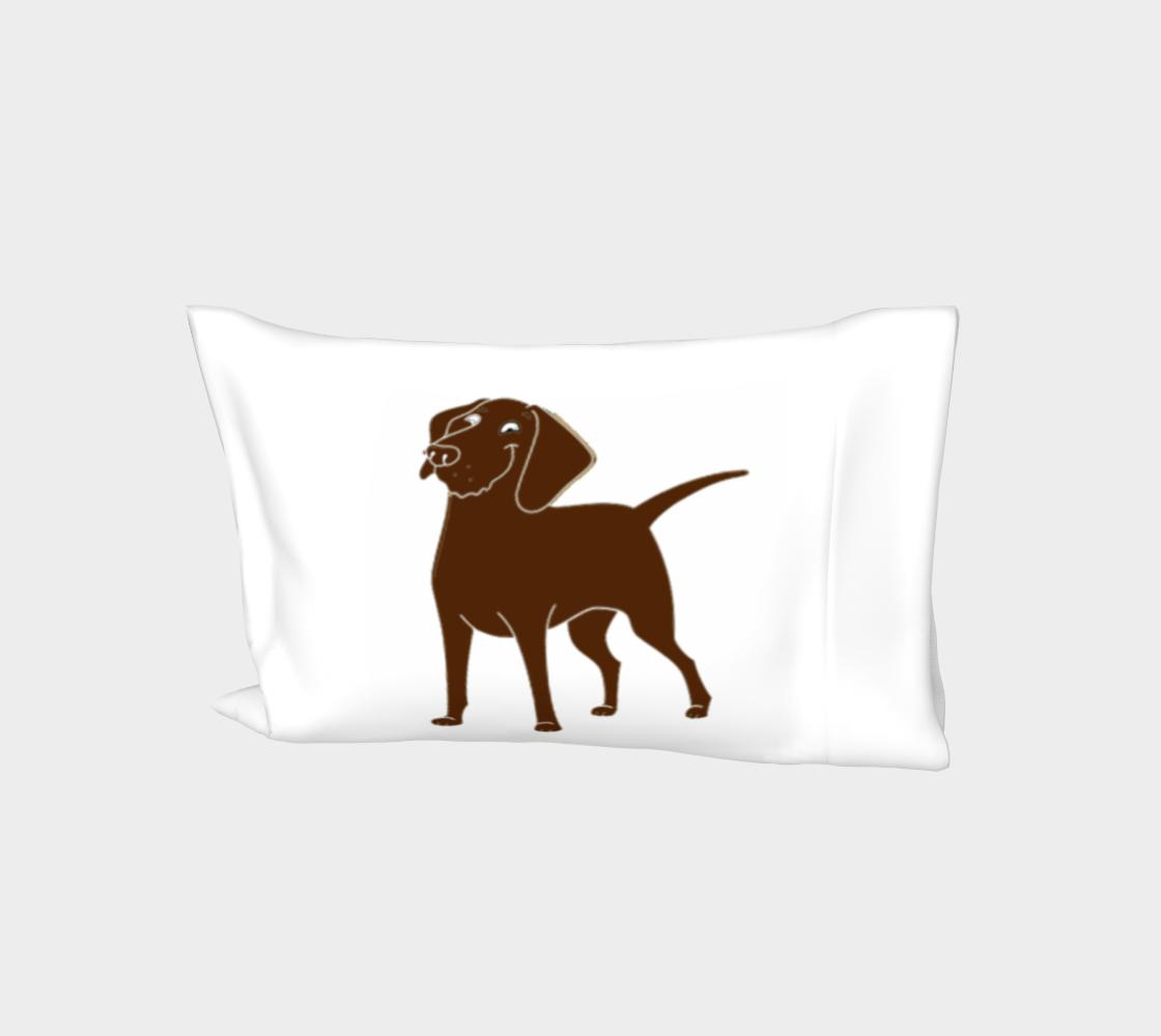 Labrador Retriever chocolate cartoon bed pillow sleeve preview