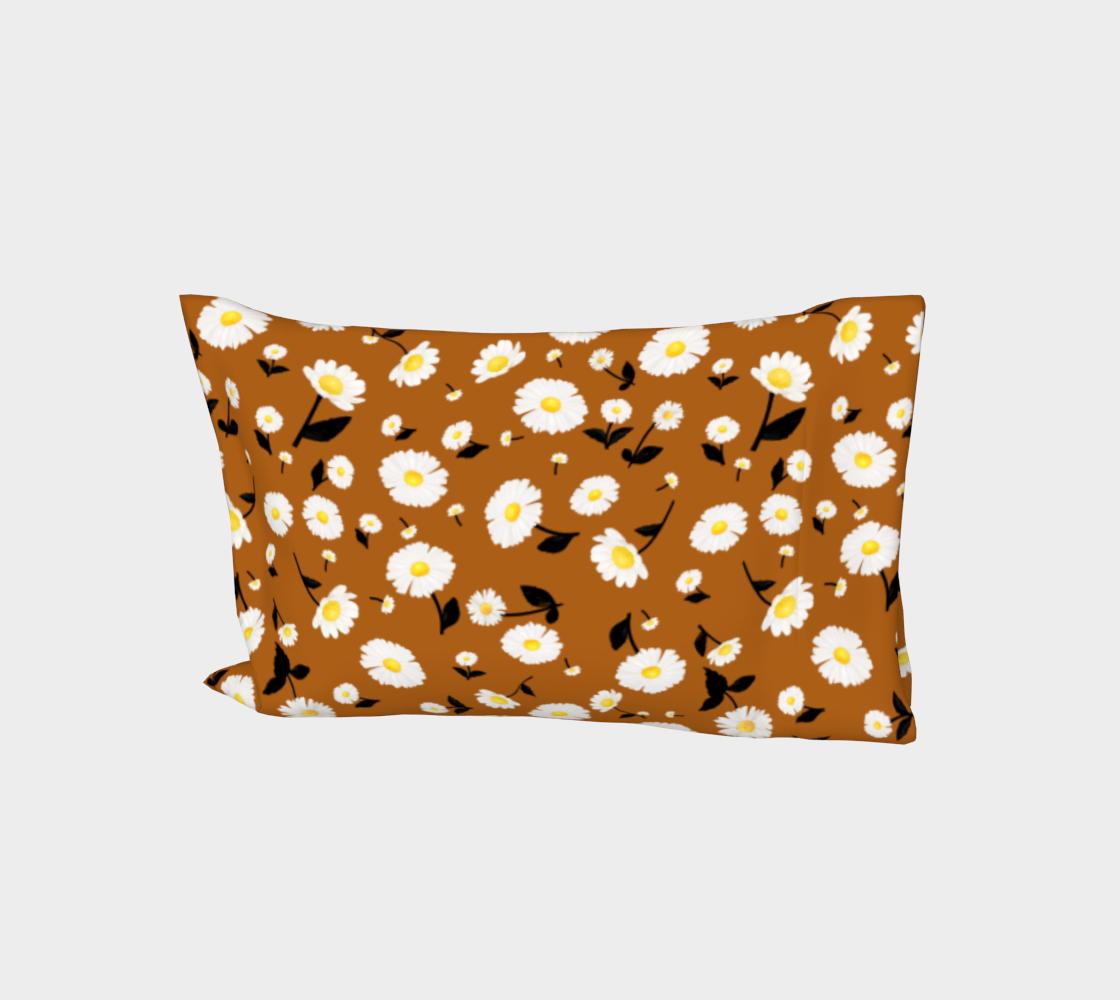 Daisies Pattern - Rust Orange Bed Pillow Sleeve aperçu