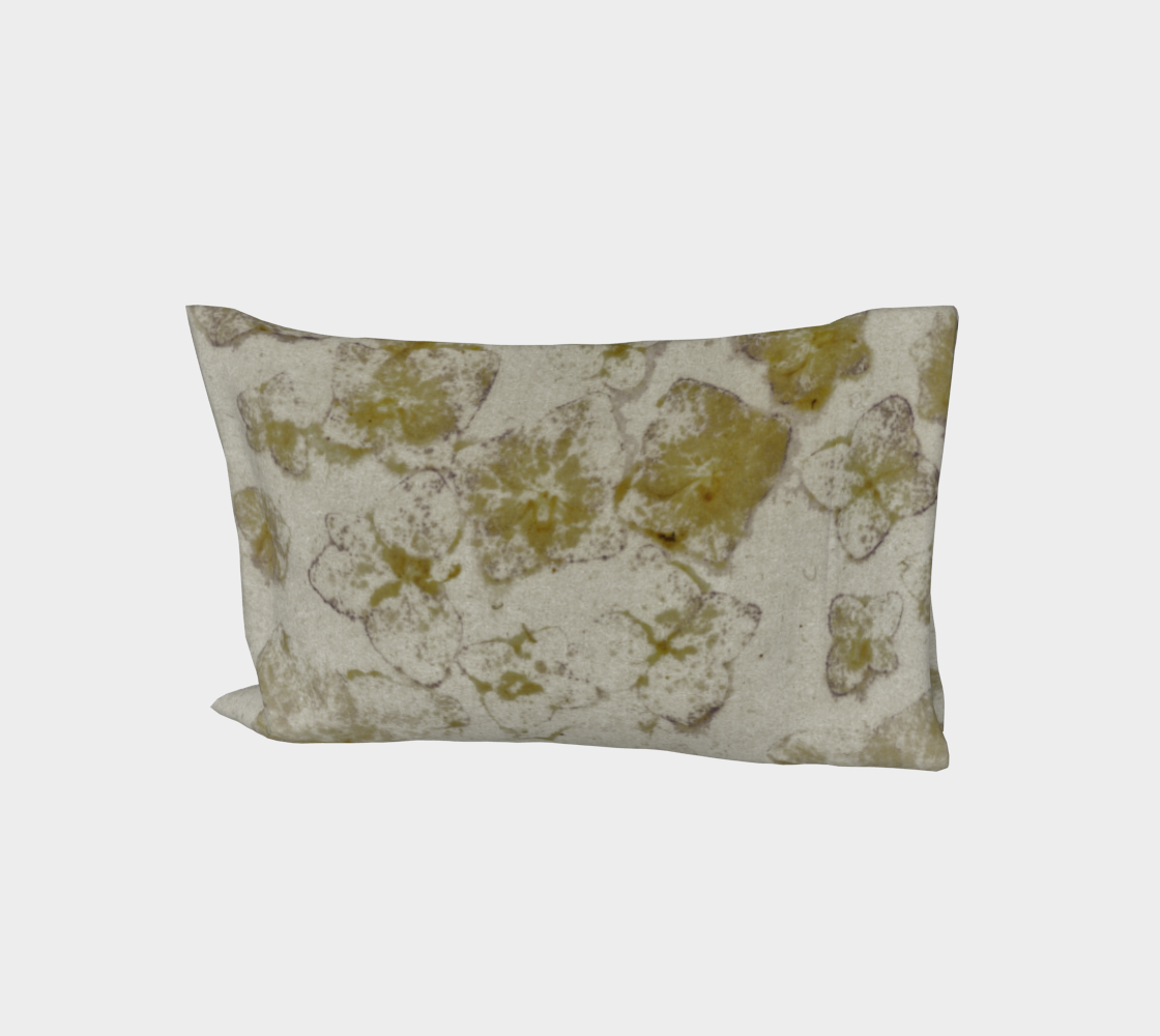 Bed Pillow Sleeve * Abstract Floral Bedding Linens * Flowered Pillow Cover * Golden Hydrangea Watercolor Impressions Design aperçu