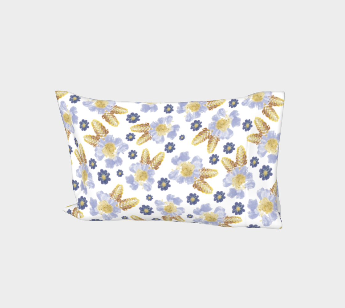 Bed Pillow Sleeve * Abstract Floral Bed Linens * Blue Flower Petals * Cosmos and Crocosmia Watercolor Impressions aperçu
