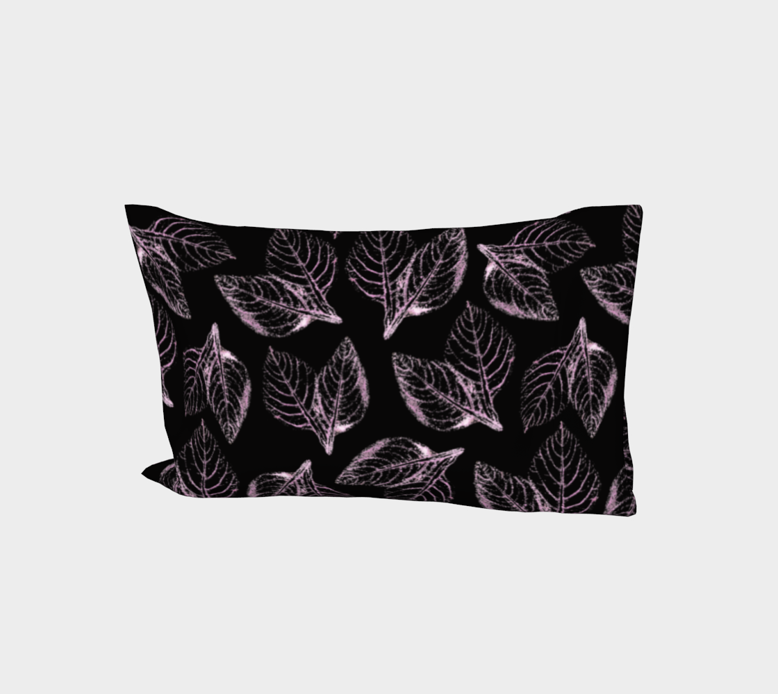 Bed Pillow Sleeve * Abstract Pink Black Floral Bed Linens * Pink Amaranth Leaves Pillowcase aperçu