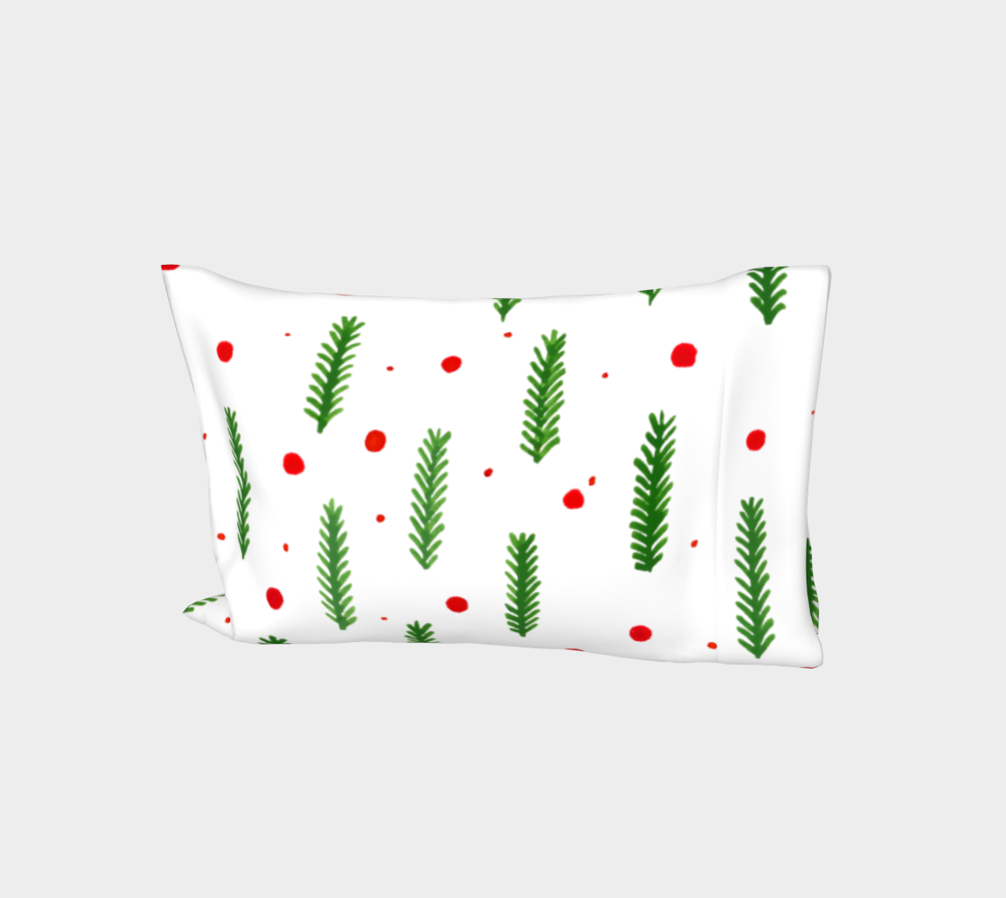 Christmas branches and berries pillow sleeve aperçu