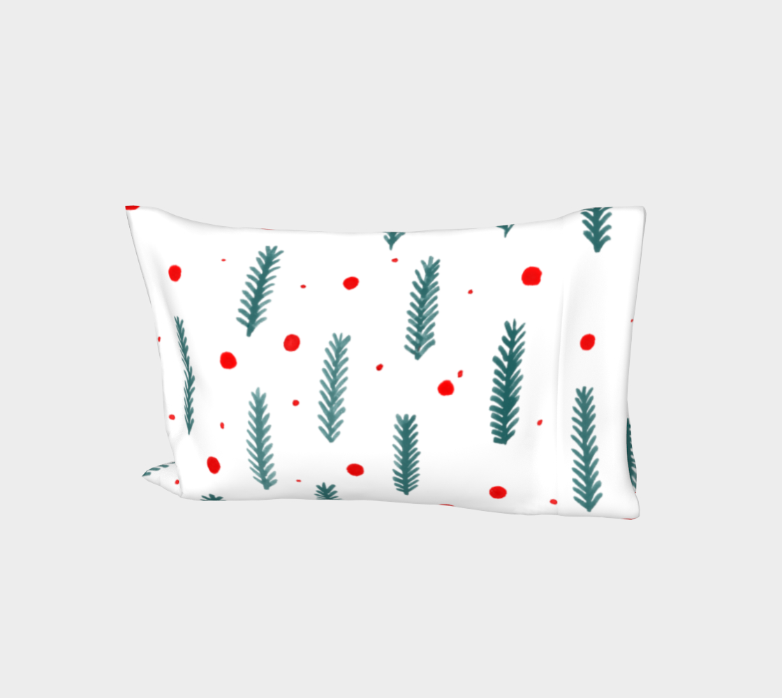 Teal Christmas branches and berries pillow sleeve aperçu