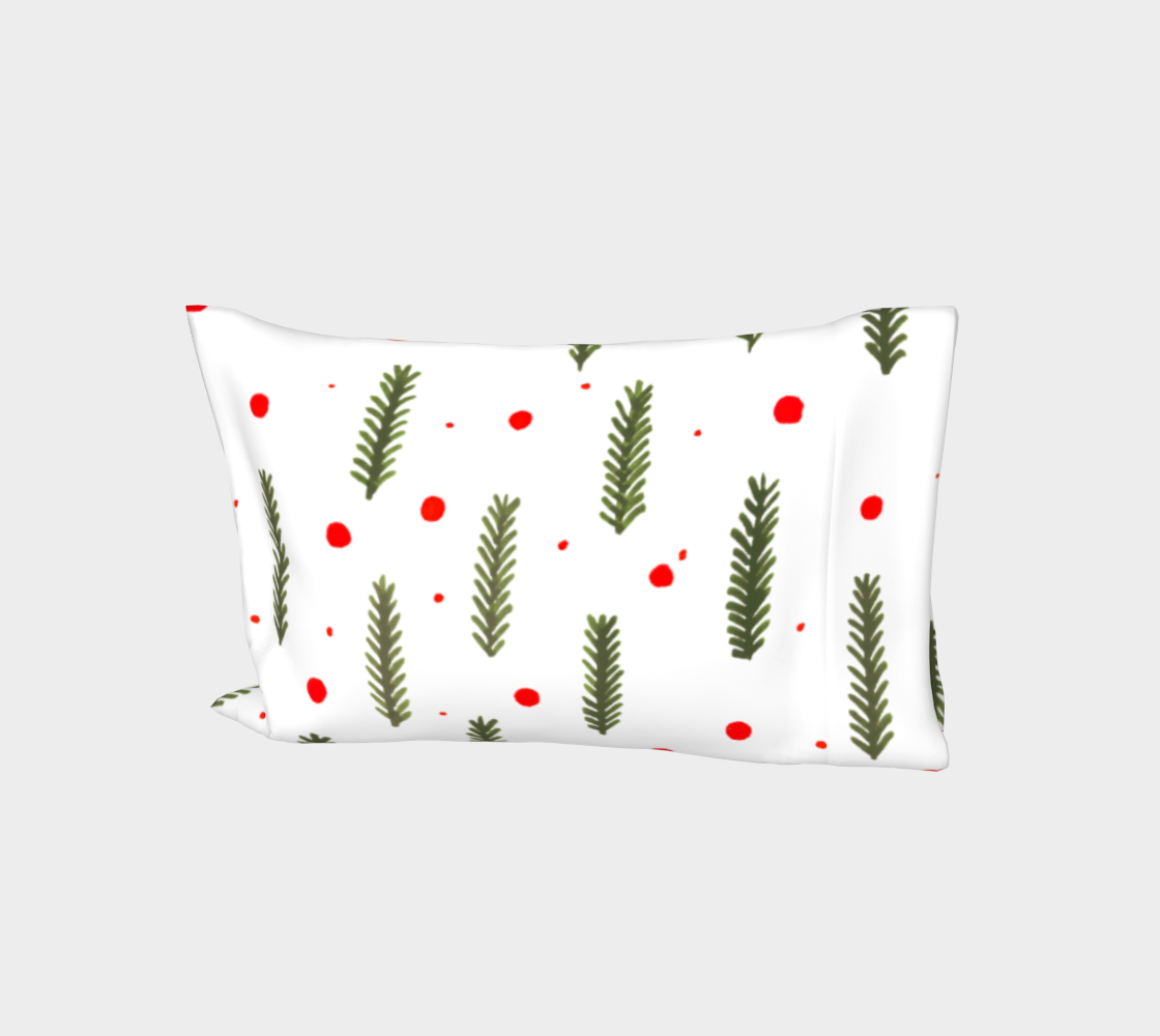 Olive green Christmas branches and berries pillow sleeve aperçu