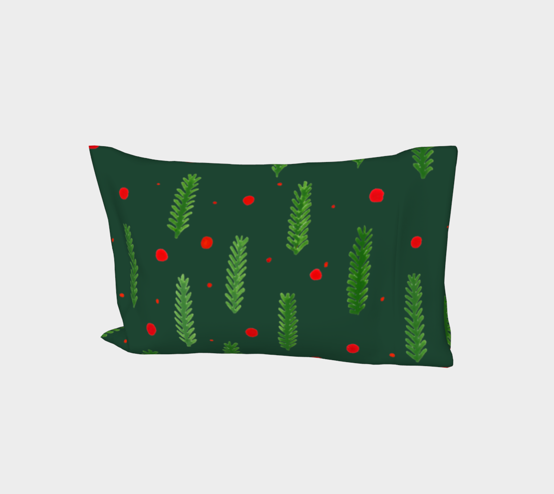 Green Christmas branches and berries pillow sleeve aperçu
