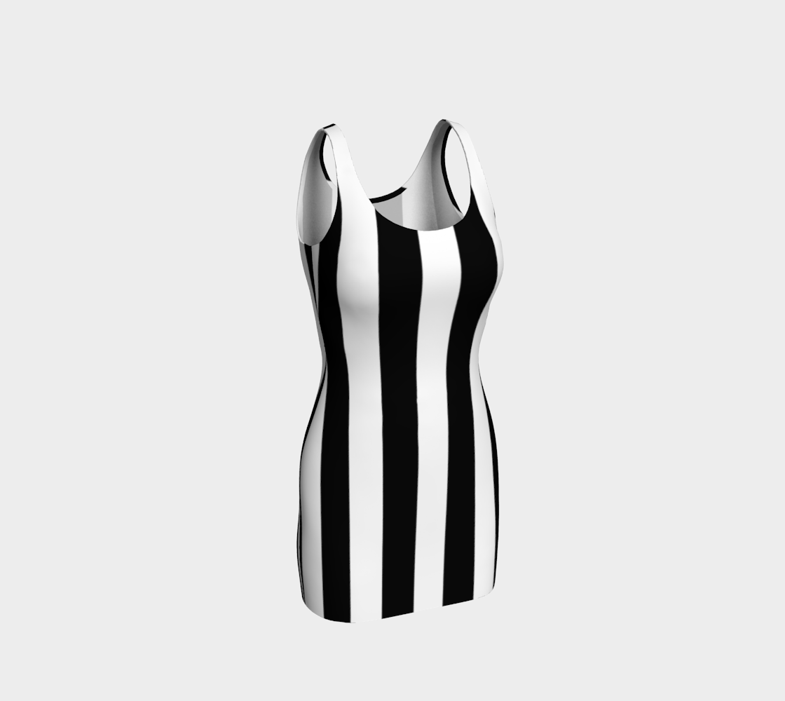 Aperçu de Robe Moulante Bandes Blanc/Noir