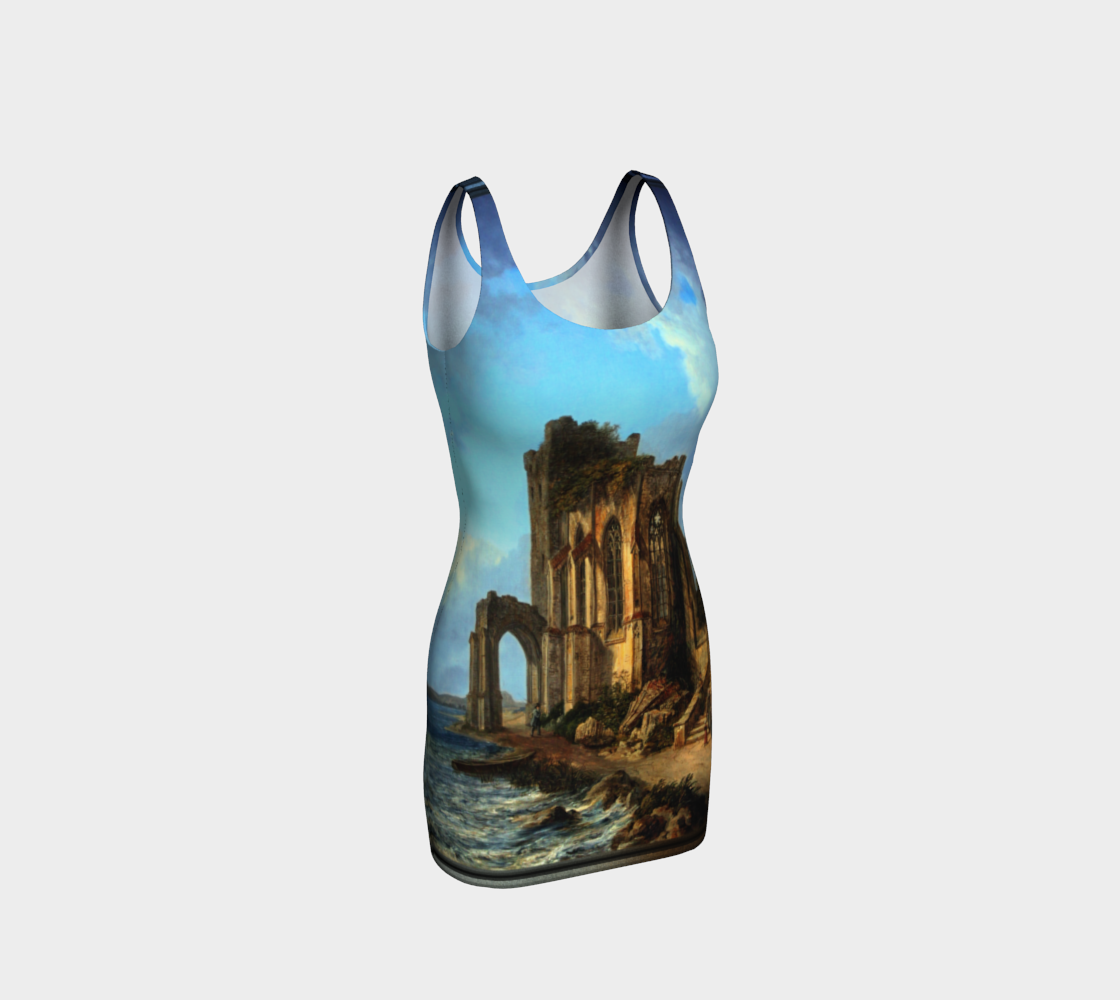 Church Ruins By The Sea by Domenico Quaglio the Younger Bodycon Dress preview