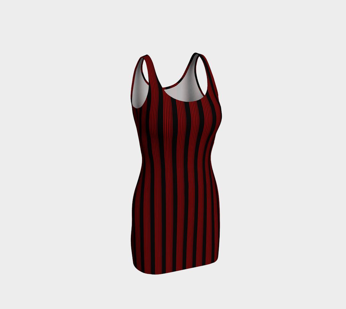 Aperçu de Robe moulante bandes noir/rouge
