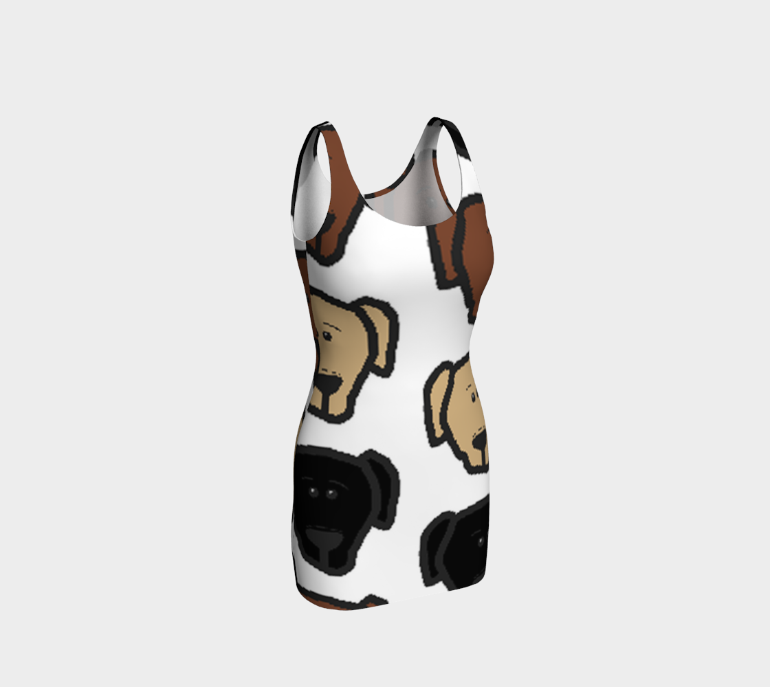 Labrador Retriever all 3 colors cartoon heads bodycon dress preview