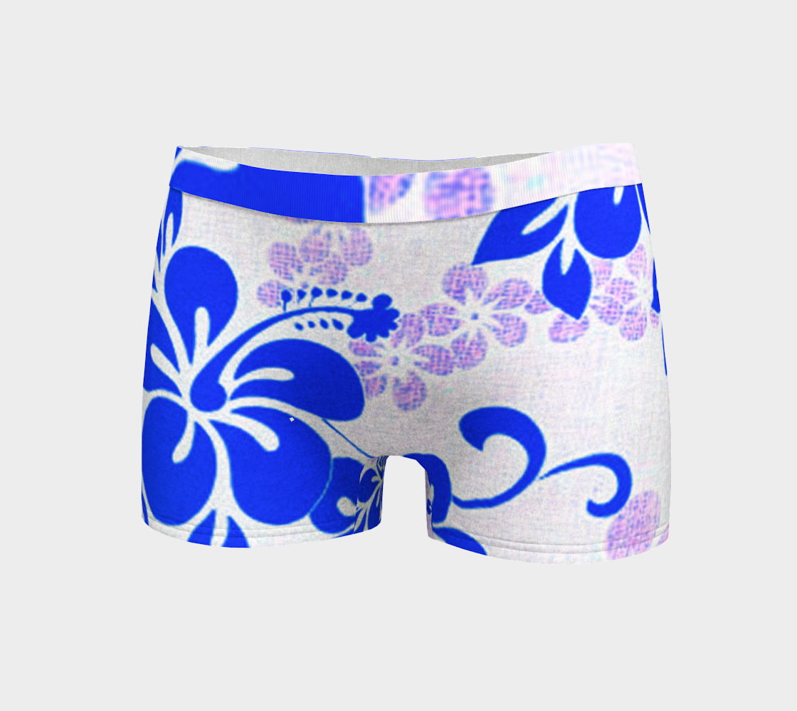 Blue and Lavender Hibiscus Boyshorts preview