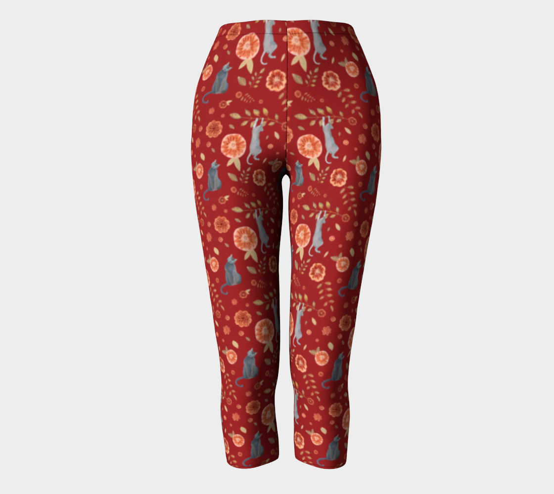 CAT LOVERS BURGUNDY RED FLORAL CHIC preview
