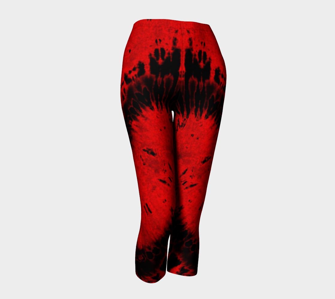 Red Black Heart Capri Leggings preview #1