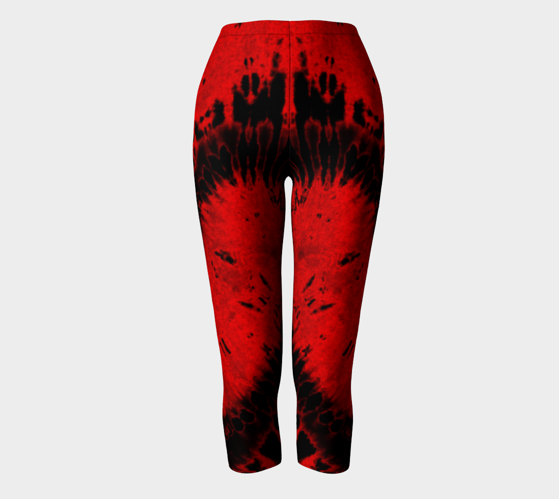Red Black Heart Capri Leggings preview