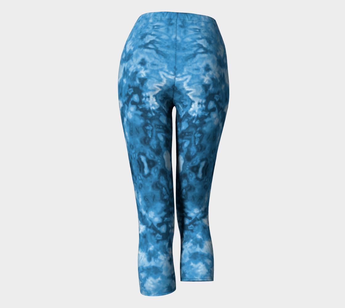 Blue Abstract Capri Leggings preview #4