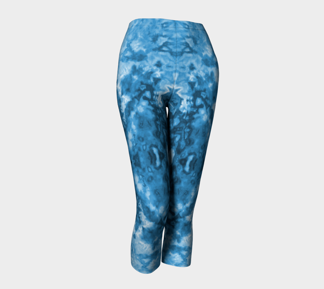 Blue Abstract Capri Leggings preview #1