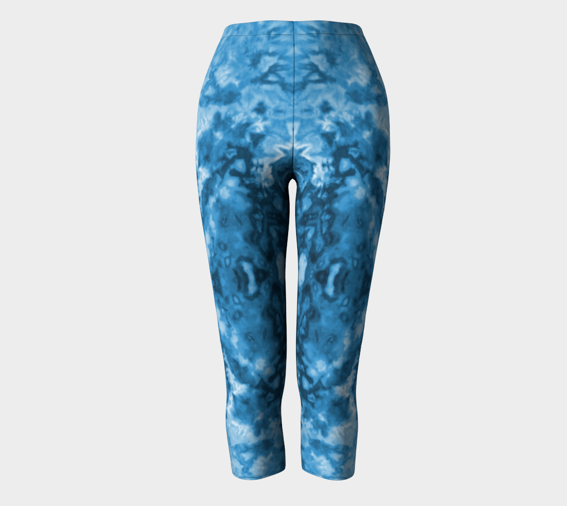 Blue Abstract Capri Leggings preview