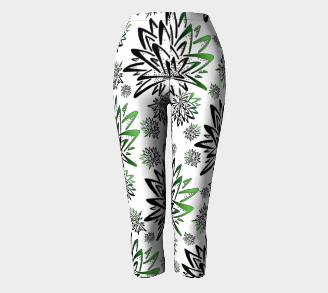 Aperçu de Abstract Green Thistles Pattern Capris