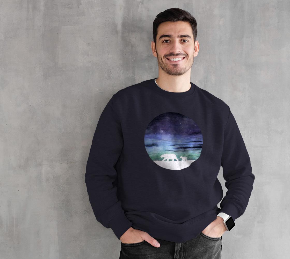 Aurora borealis and polar bears (white version) Crewneck Sweatshirt preview