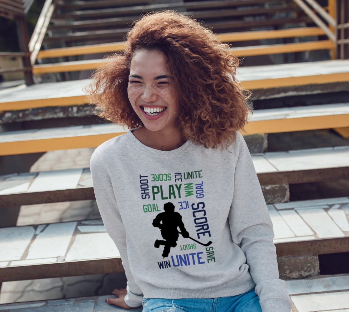 For the Love of Hockey Crewneck Sweatshirt - Blue preview #3