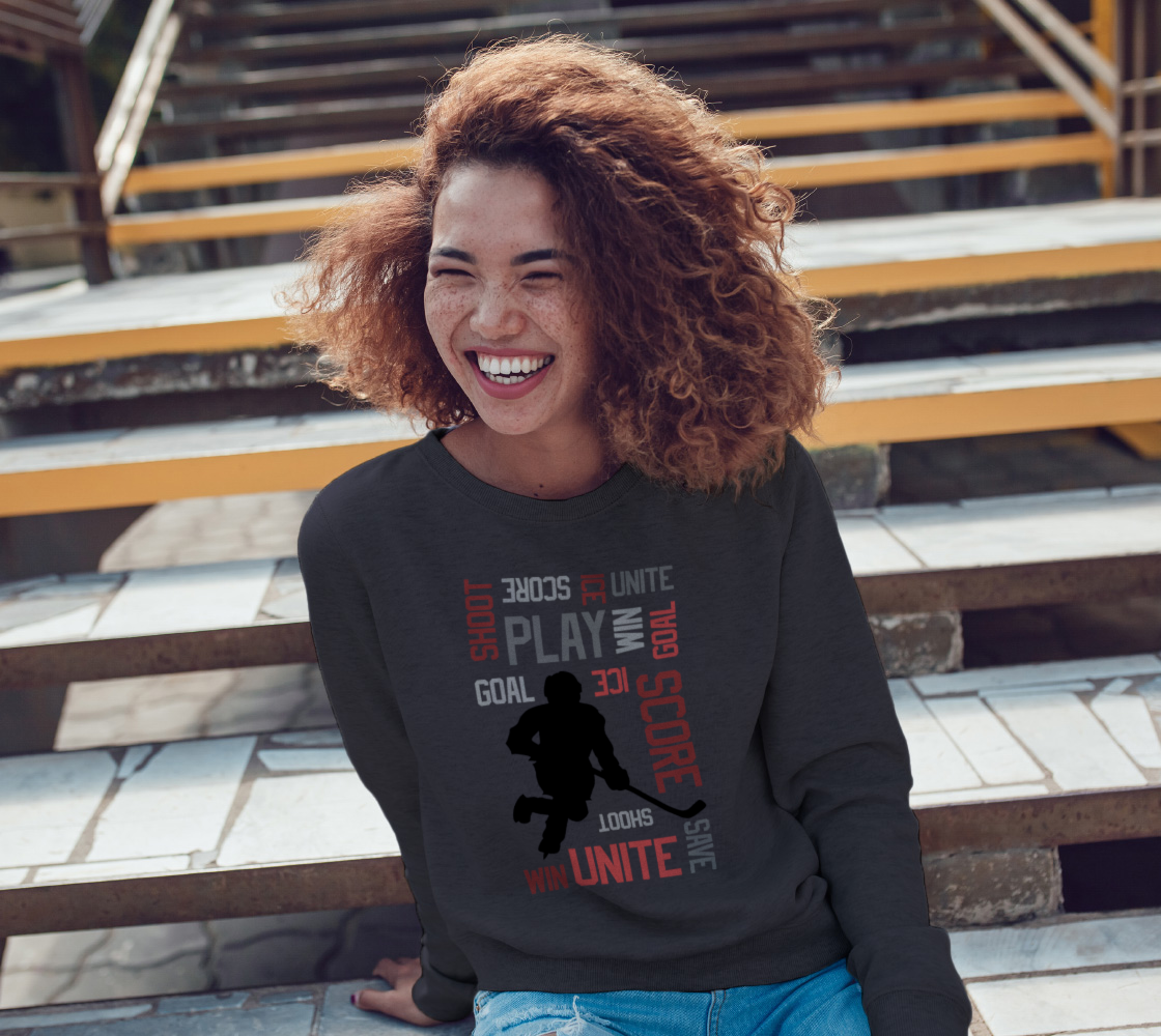 For the Love of Hockey Crewneck Sweatshirt - Red preview #3