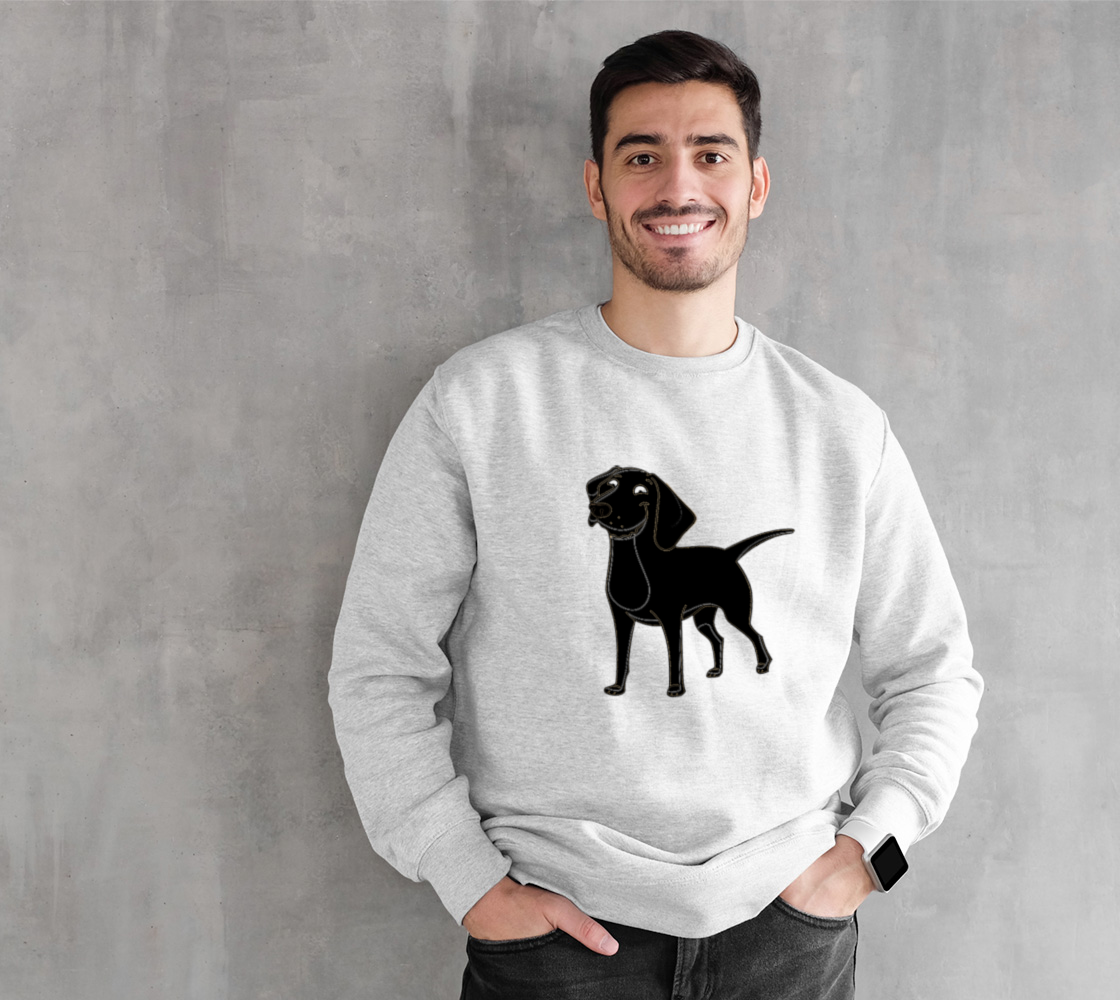 Labrador Retriever black cartoon crewneck sweatshirt preview