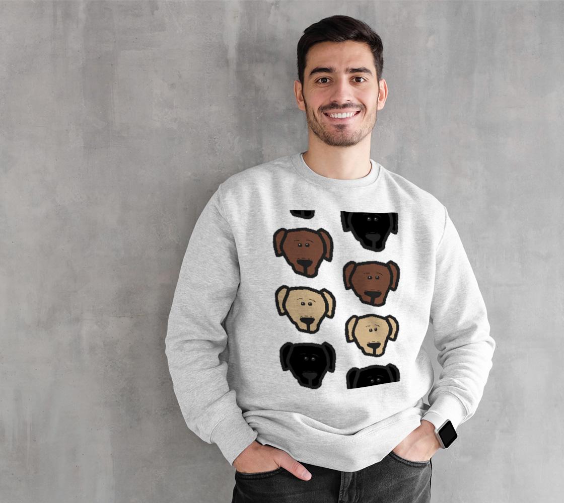 Labrador Retriever all 3 colors cartoon heads crewneck sweatshirt preview