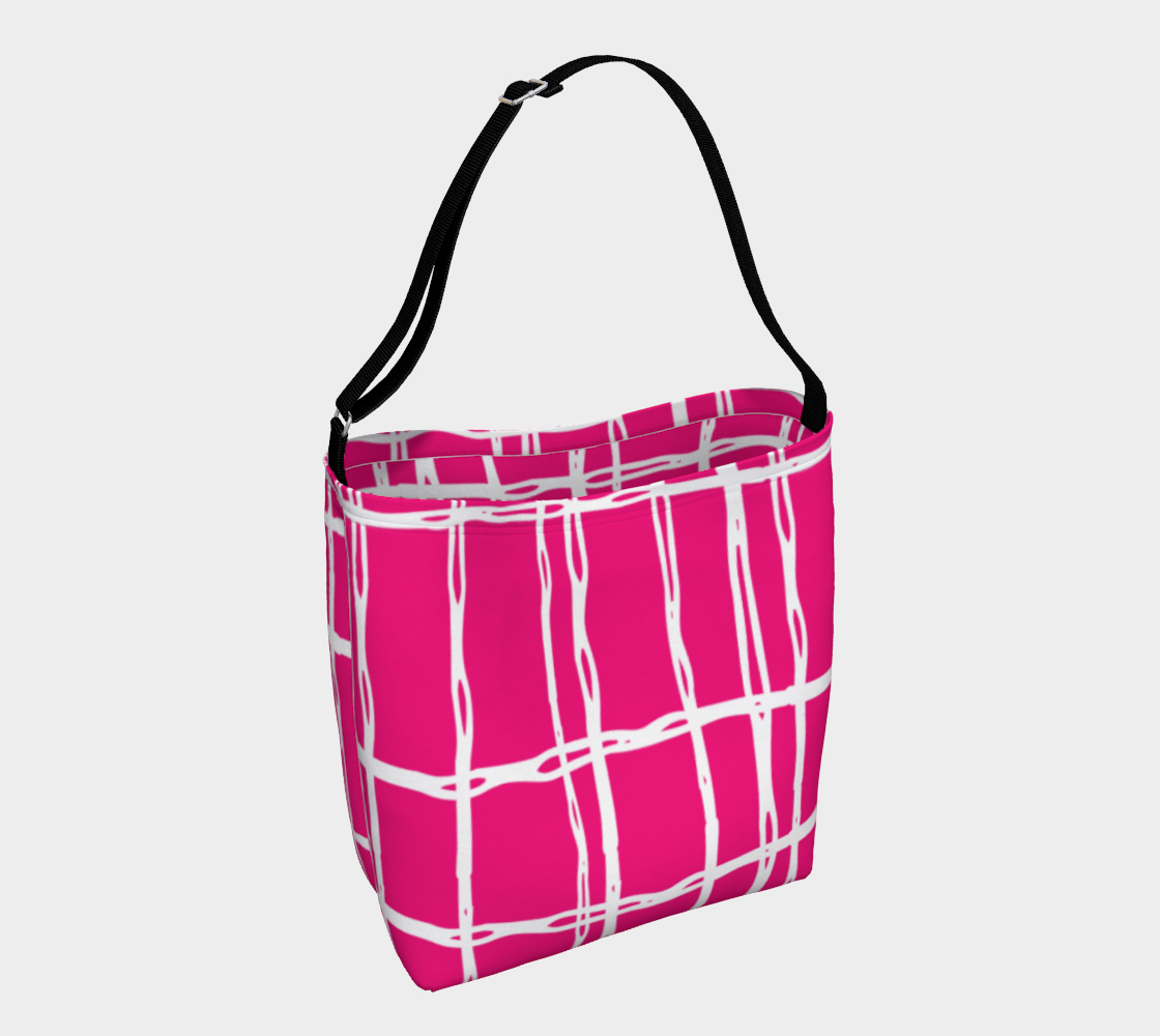 Pink and White Geometric Line Pattern Day Tote preview