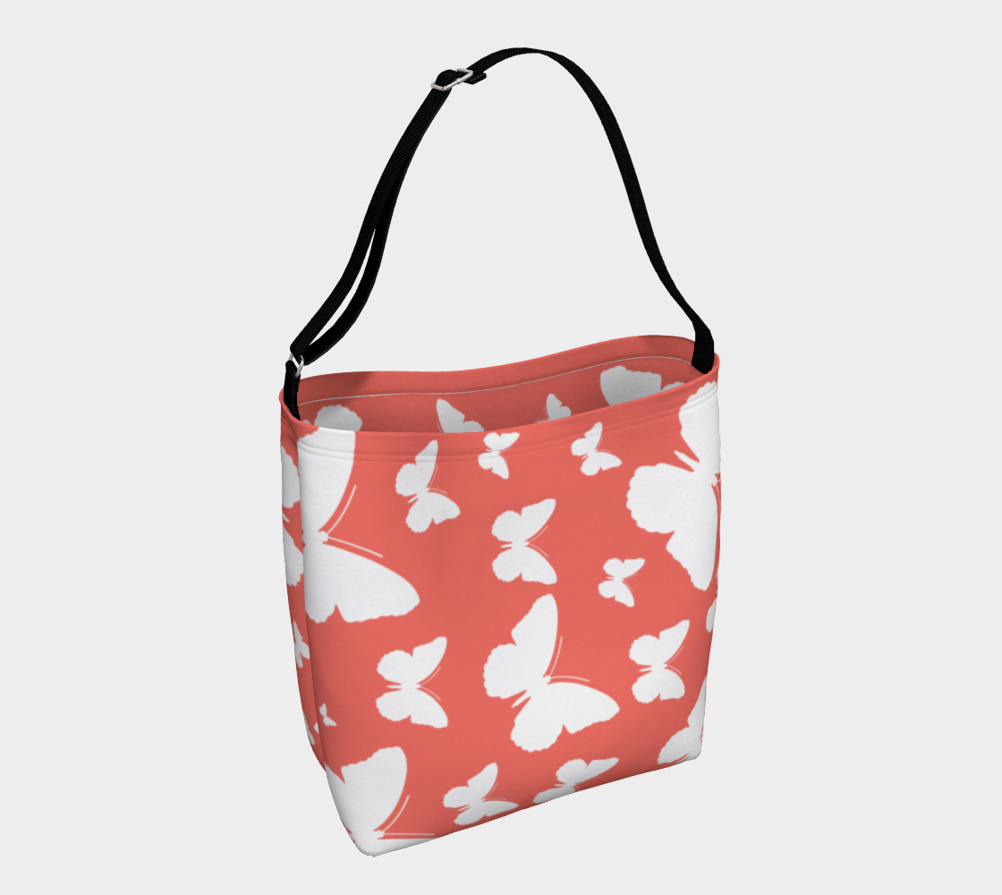 Butterflies in Coral and White Day Tote preview