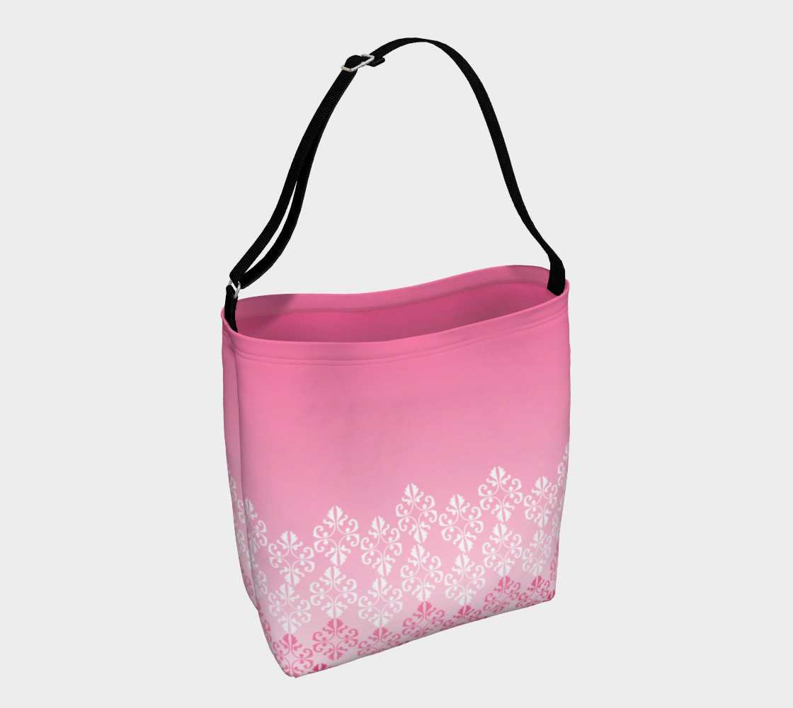 Pink Ombre Damask Pattern Day Tote preview