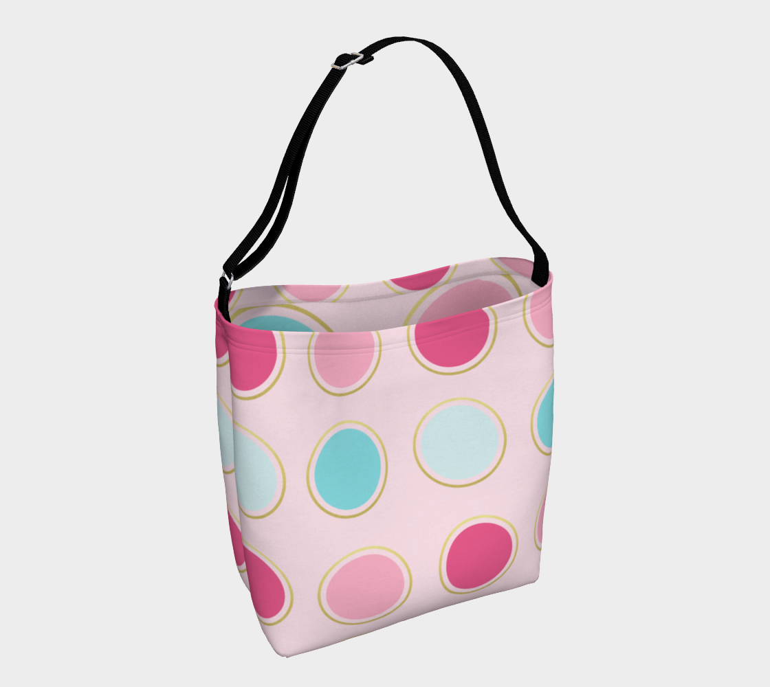 Pink and Teal Polka Dot Day Tote preview