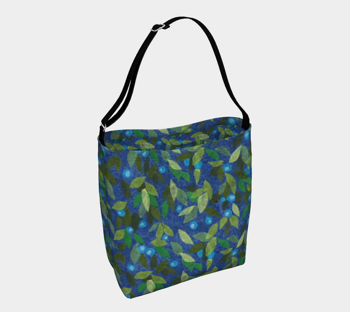 Aperçu de Blue Berries Green Leaves Simple Botanica Floral Pattern Daily Tote Bag