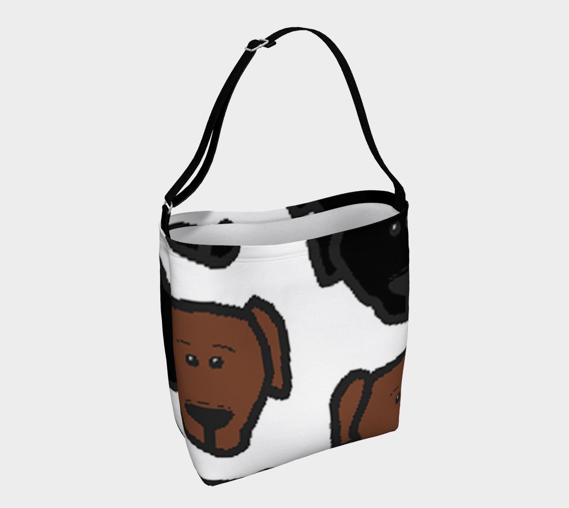 Labrador Retriever all 3 colors cartoon heads day tote bag preview