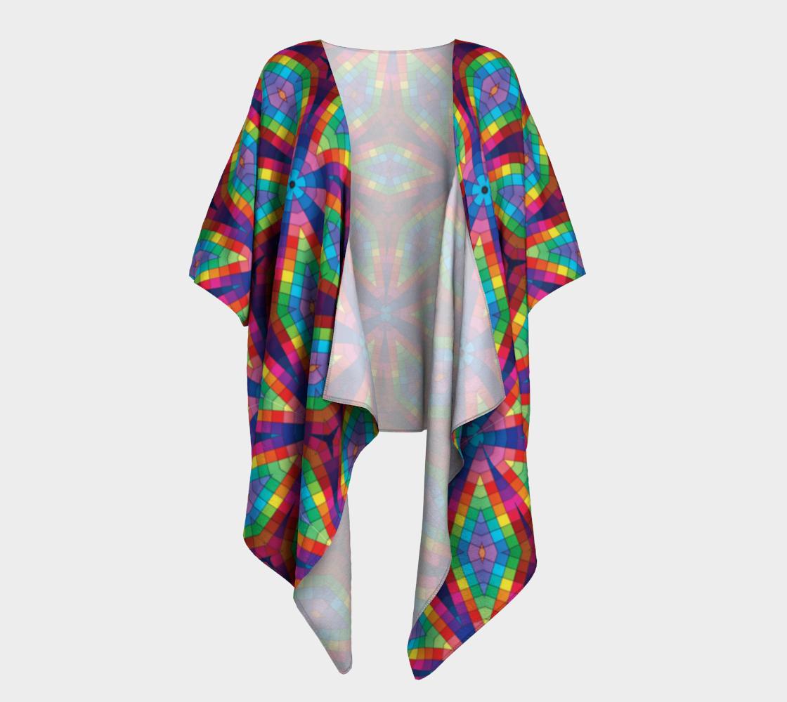 Aperçu de Kaleidoscope Rainbow Draped Kimono
