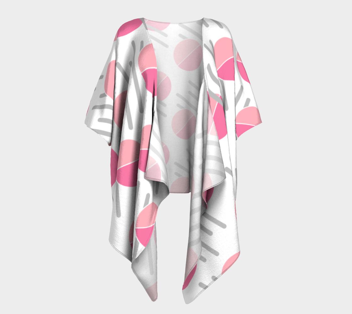 Modern Pink Circle Grey Line Abstract Draped Kimono preview