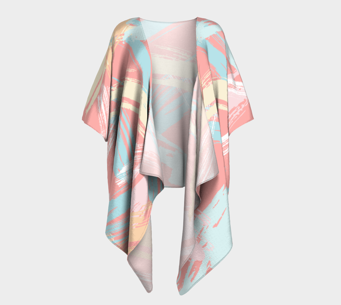 Pastel Abstract Brush Stroke Draped Kimono preview