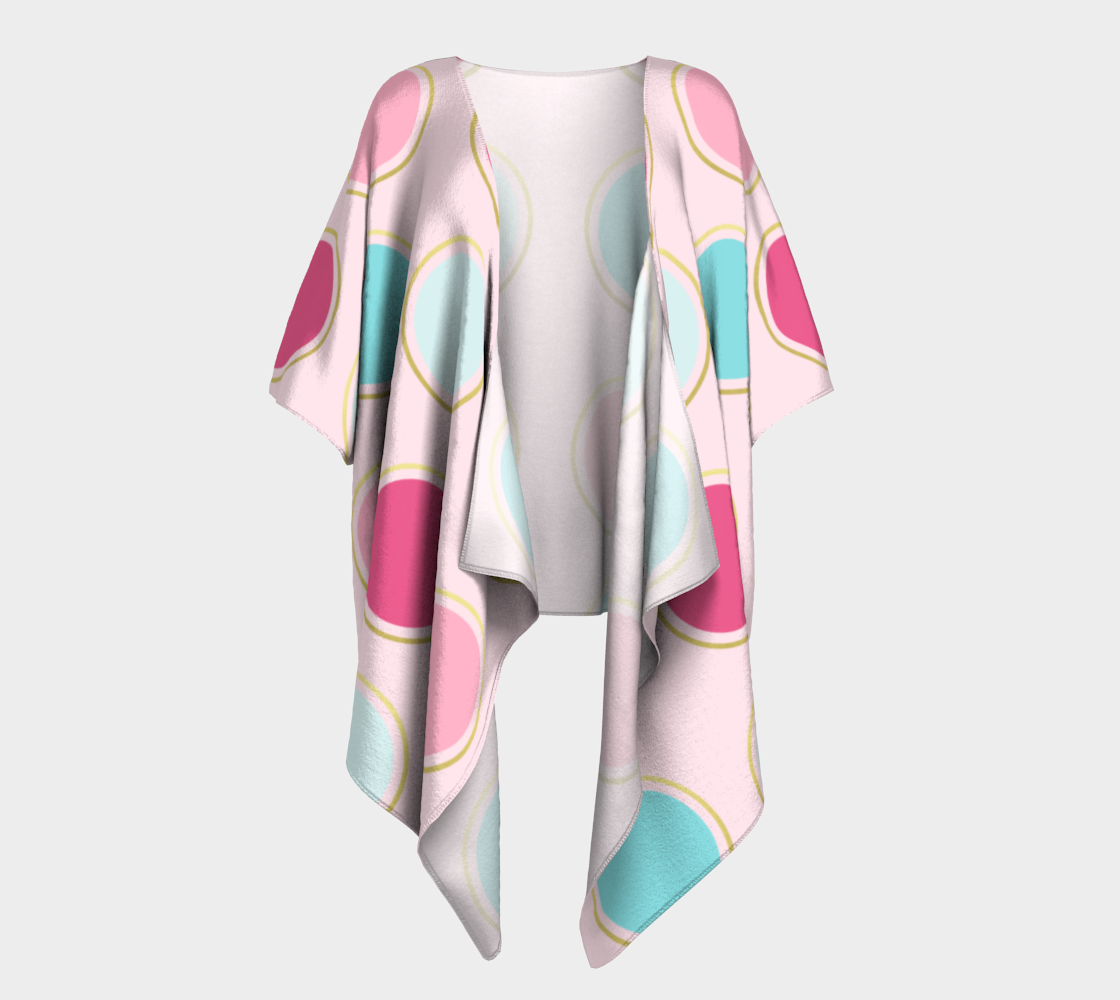 Pink and Teal Polka Dot Draped Kimono preview