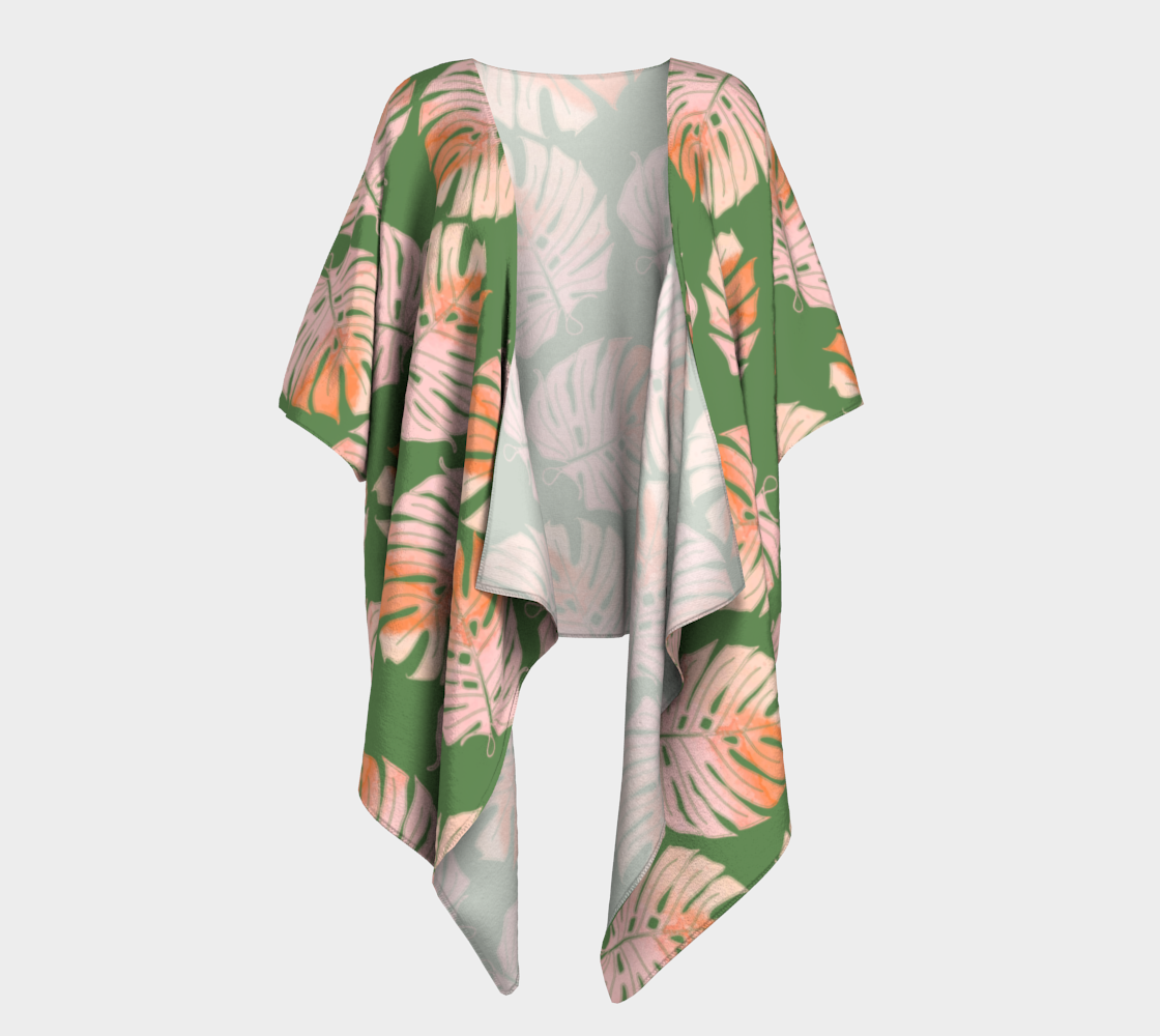 Tropical Leafs in Green and Coral Draped Kimono preview