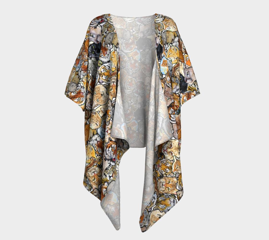 Big Cat Collage - draped kimono preview