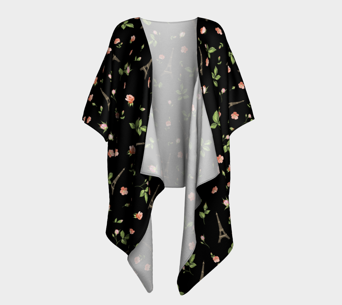 Chic Paris Eiffel Tower French Roses Black preview