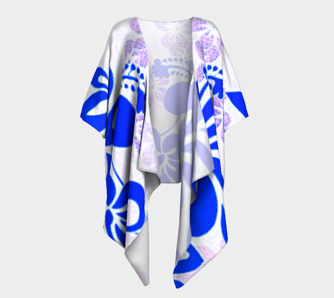 Blue and Lavender Hibiscus Draped Kimono preview