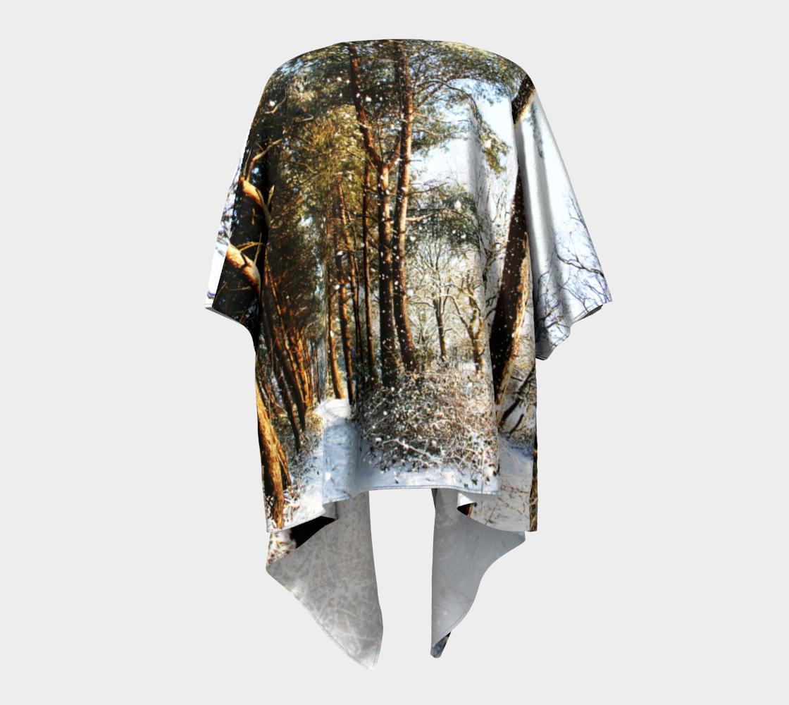 Forest Snow Scene Draped Kimono preview #4
