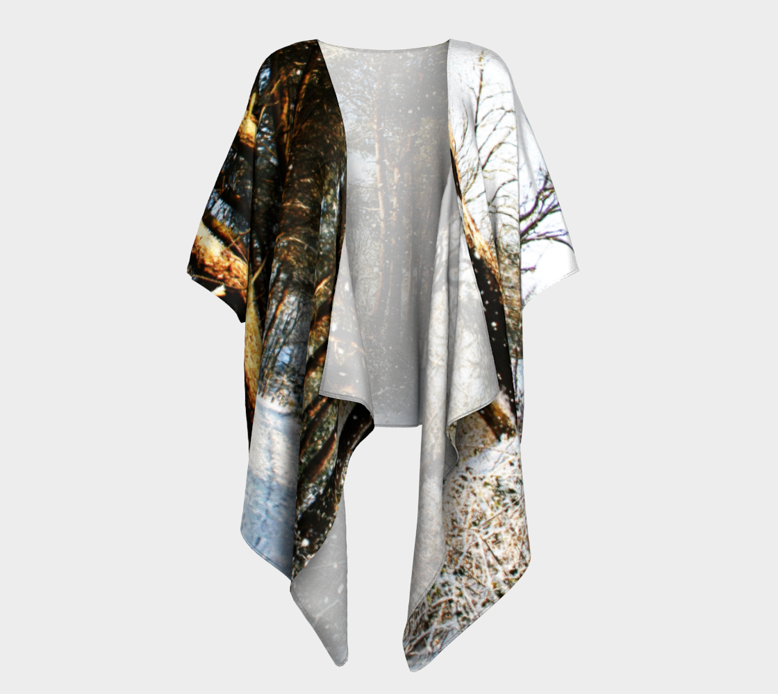 Forest Snow Scene Draped Kimono preview