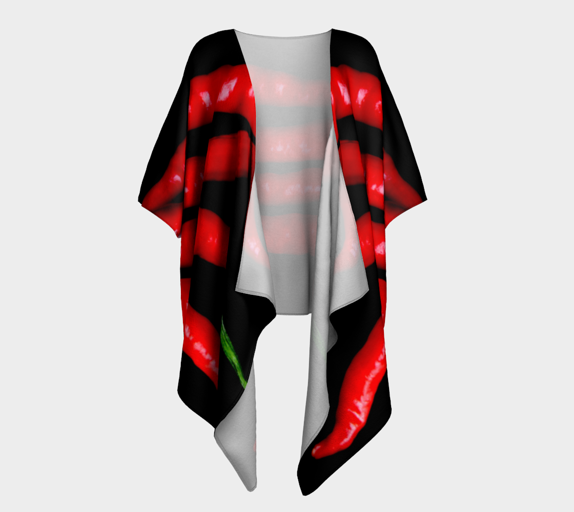 Four Red Chilies Draped Kimono preview