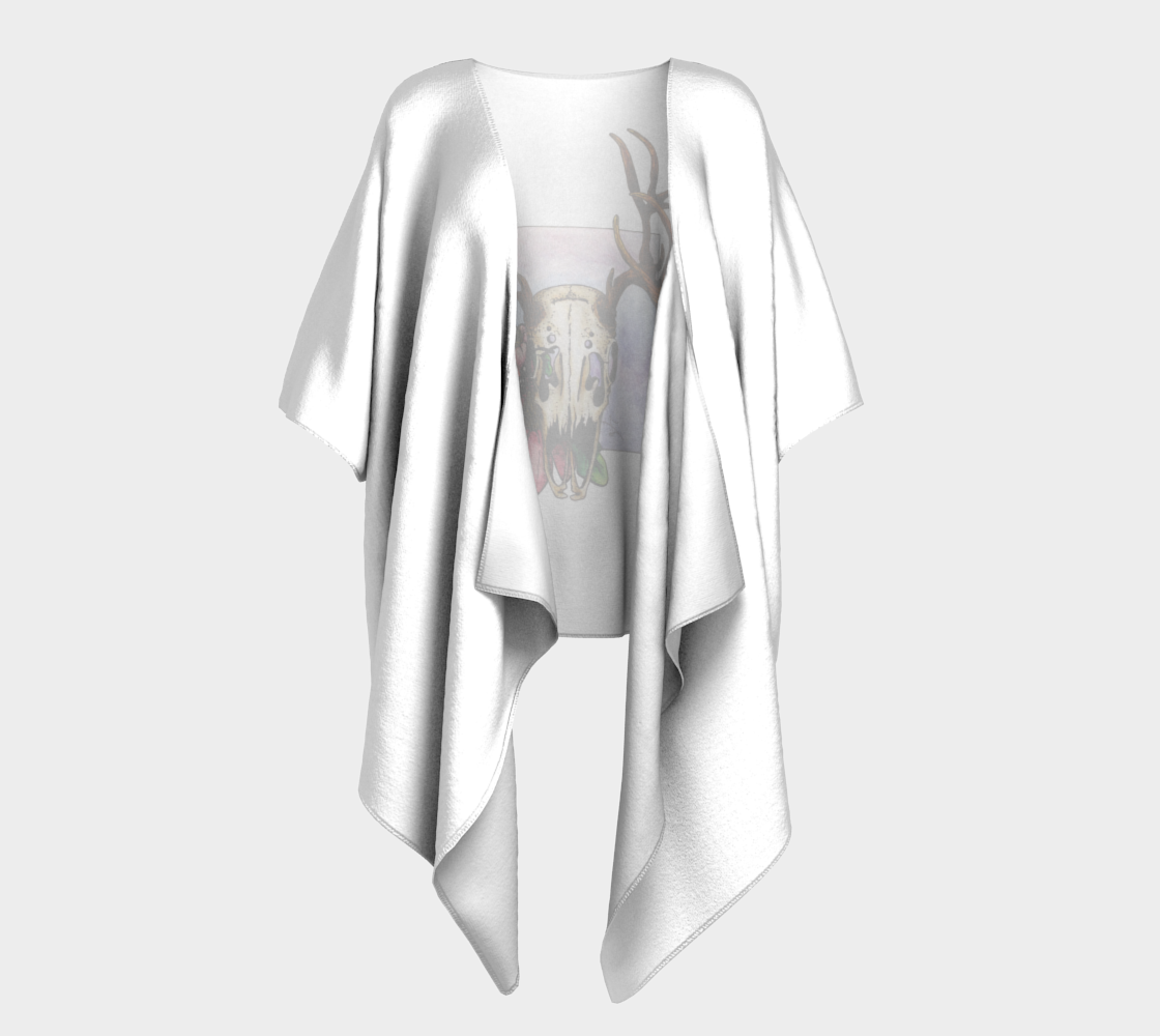 Deer Skull and Butterfly Draped Kimono - White preview